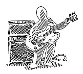Hand-drawn vector drawing of a Human Figure Musician, who plays an Electric Guitar. Black-and-White sketch on a transparent background (.eps-file). Included files are EPS (v10) and Hi-Res JPG.