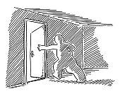 Human Figure Open Exit Door Drawing
