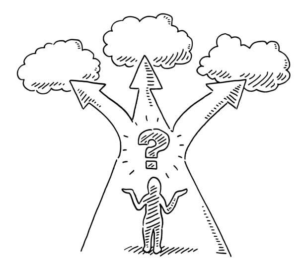 Human Figure Question Mark Three Options Drawing vector art illustration
