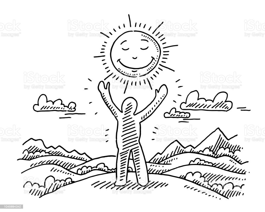 Human figure raised hands sun landscape drawing illustration