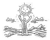 Human Figure Raised Hands Sun Landscape Drawing
