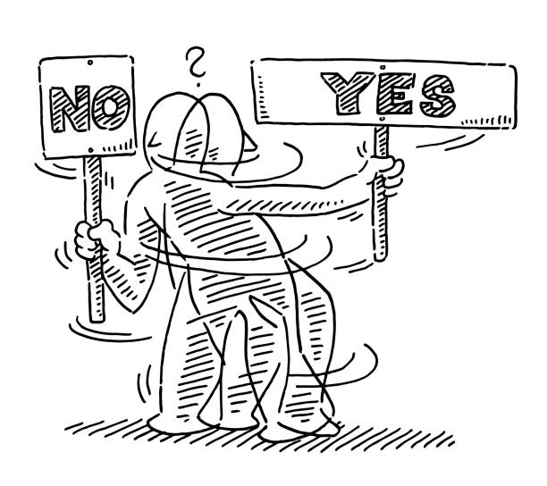 Human Figure Sign Yes No Uncertainty Drawing Hand-drawn vector drawing of a Human Figure turning around with a Sign, which shows Yes and No. Uncertainty Concept. Black-and-White sketch on a transparent background (.eps-file). Included files are EPS (v10) and Hi-Res JPG. business stock illustrations
