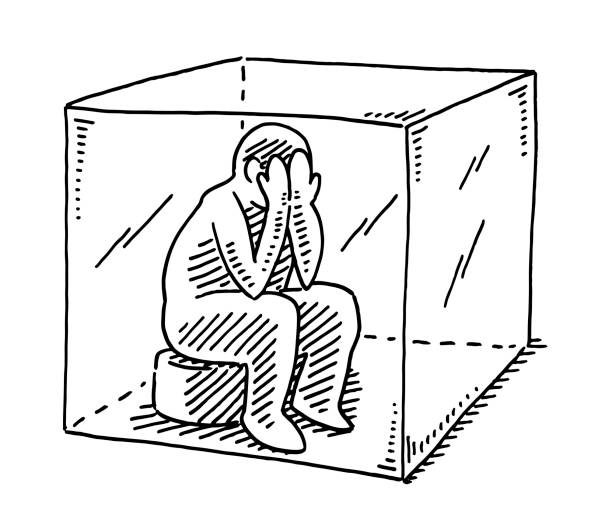 Human Figure Sitting In A Box Isolation Concept Drawing vector art illustration