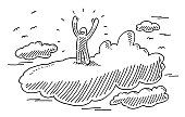 Human Figure Standing On Cloud Raising Arms Drawing