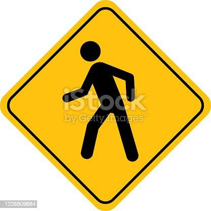 istock Human Figure Walking Street Sign 1226809884