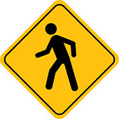 Vector illustration of a gold street sign with a black walking human figure on it.