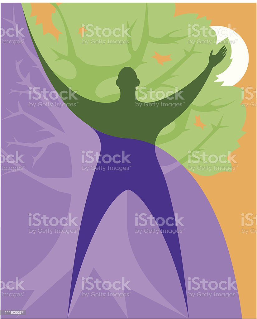 Human Figure With Tree Of Life stock vector art 111906687 | iStock