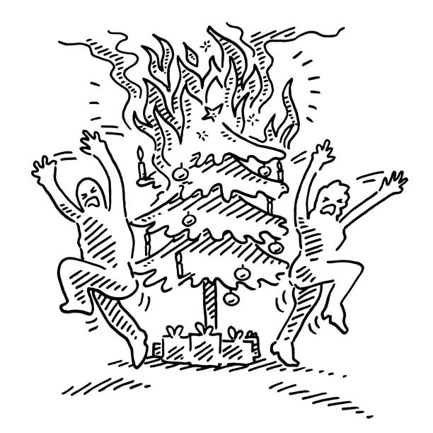 Human Figures In Panic Burning Christmas Tree Drawing Hand-drawn vector drawing of two Human Figures In Panic because of a Burning Christmas Tree. Black-and-White sketch on a transparent background (.eps-file). Included files are EPS (v10) and Hi-Res JPG. running stock illustrations