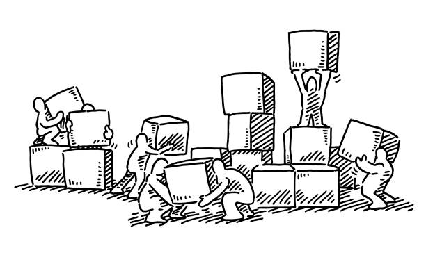 Human Figures Stacking Boxes Drawing Hand-drawn vector drawing of Human Figures Stacking Boxes. Black-and-White sketch on a transparent background (.eps-file). Included files are EPS (v10) and Hi-Res JPG. business stock illustrations