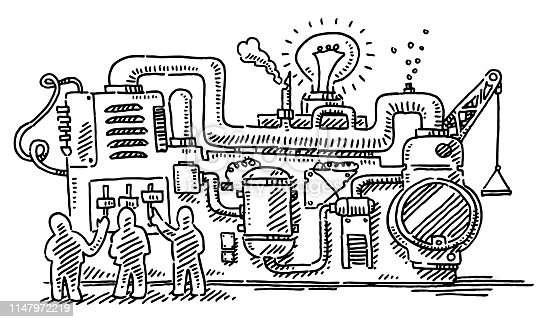 Hand-drawn vector drawing of a group of Human Figures Standing In Front Of a Complex Machine. Black-and-White sketch on a transparent background (.eps-file). Included files are EPS (v10) and Hi-Res JPG.