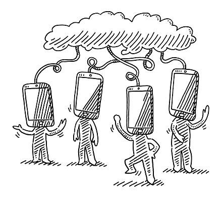 Human Figures With Smartphone Heads Wired To Cloud Drawing