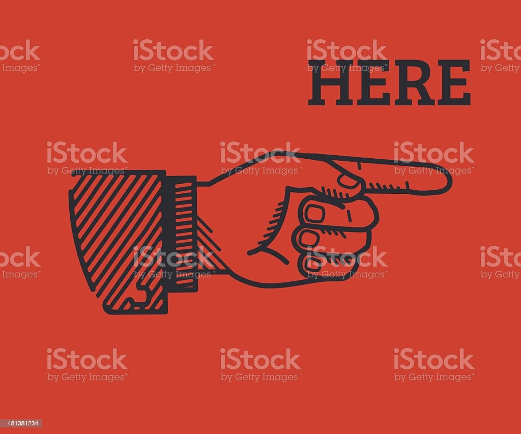 Human finger with sign here vector art illustration