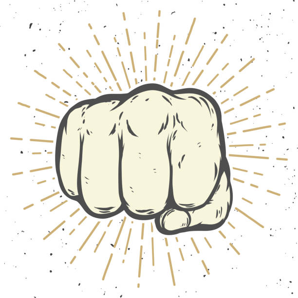 stockillustraties, clipart, cartoons en iconen met illustratie van de menselijke vuist op witte achtergrond. vectorillustratie - punch