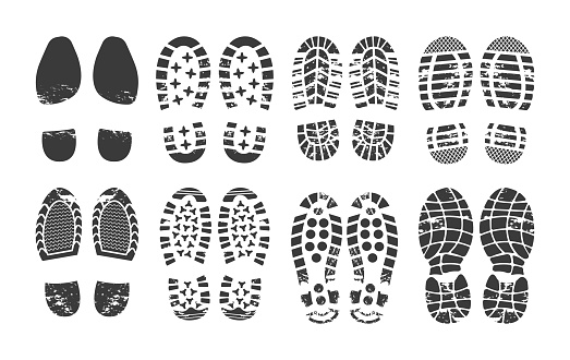 Human footprint. Footwear steps silhouette, shoes, boots, sneakers footstep print of men and women, textured steps. Dirty shoes print, shoes footprints on asphalt and ground, step silhouette