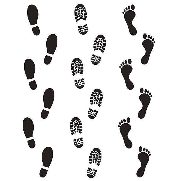 human footprint icon. - wandermode stock-grafiken, -clipart, -cartoons und -symbole