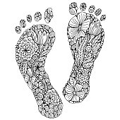 Human footprint in doodle style. Coloring book page. Footstep with different little flowers. Black and white foot. Vector.