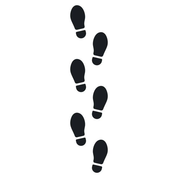 illustrazioni stock, clip art, cartoni animati e icone di tendenza di human footprints icon isolated on white background. vector illustration - zona pedonale struttura creata dall'uomo