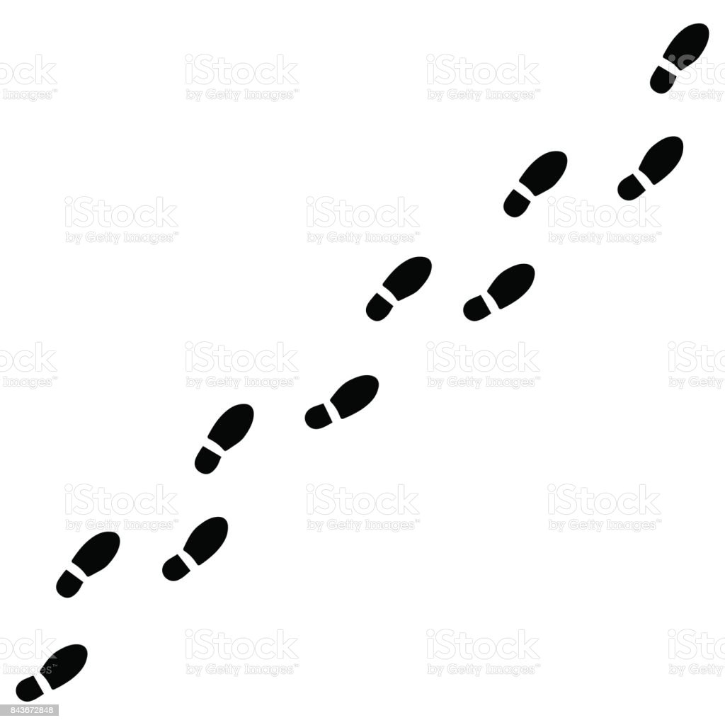 Human footprints on a white background