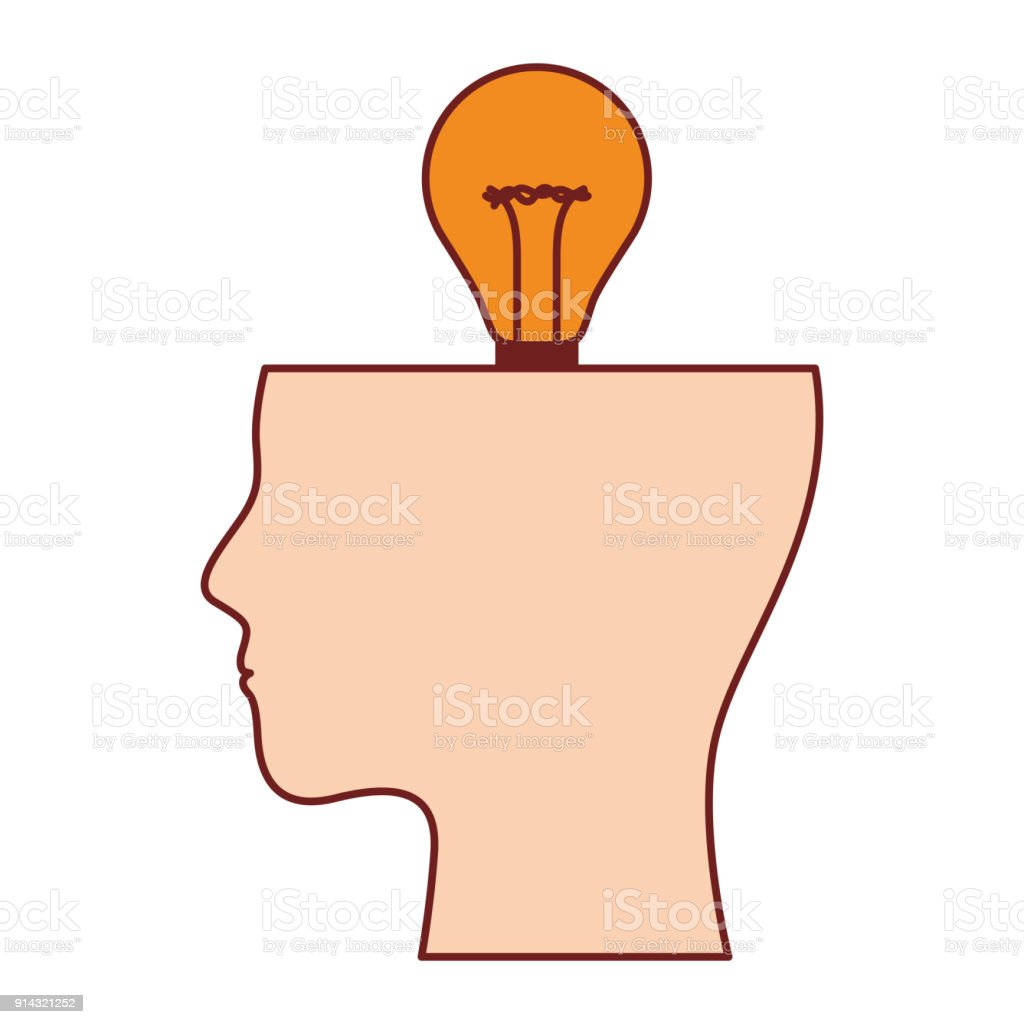 Human Half Face Silhouette With Light Bulb On Top In Colorful ...
