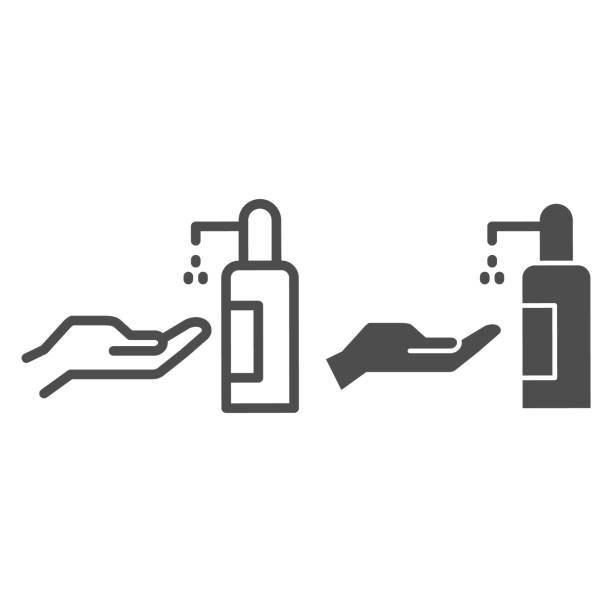 人手和抗菌噴霧線和固體圖示,共19預防概念,洗手用消毒皂標誌在白色背景,防腐劑為手圖標輪廓風格。向量圖形。 - 疫病預防 幅插畫檔、美工圖案、卡通及圖標