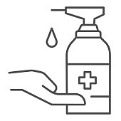 Human hand and antiseptic thin line icon, coronavirus prevention concept, Wash hands with sanitizer sign on white background, antibacterial gel icon in outline style for mobile. Vector graphics