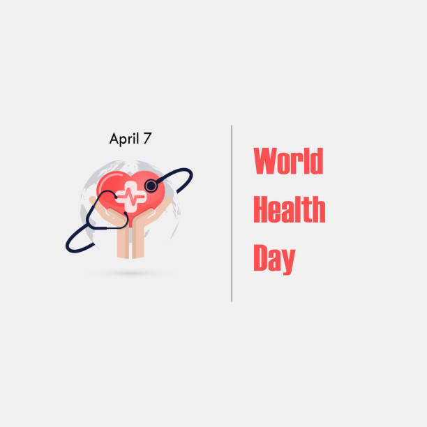 Human hand and stethoscope icon with heart shape vector logo design template.World Health Day icon.World Health Day idea campaign concept.Vector illustration Human hand and stethoscope icon with heart shape vector logo design template.World Health Day icon.World Health Day idea campaign concept.Vector illustration world health day stock illustrations