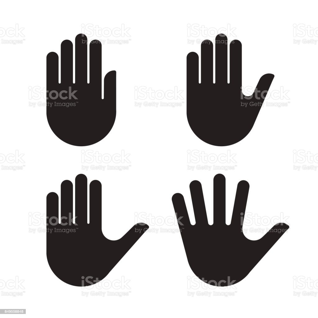 Human hand black silhouette icon set collection