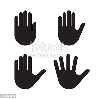 Human hand black silhouette icon set collection. Vector illustration.
