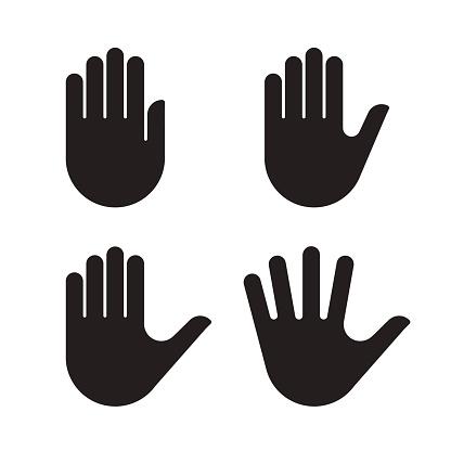 Menselijke Hand Pictogrammenset Zwarte Silhouet Collectie Stockvectorkunst en meer beelden van Arm - lichaamsdeel