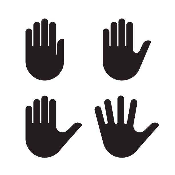 Human hand black silhouette icon set collection Human hand black silhouette icon set collection. Vector illustration. stop stock illustrations