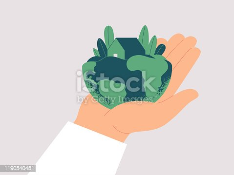 Human hand carefully holds planet Earth. Green house is among leaves on the males palm. Ecological concept fo save the Earth. Vector illustration isolated from background