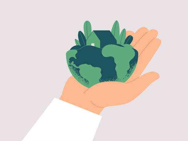 Human hand carefully holds planet Earth. Human hand carefully holds planet Earth. Green house is among leaves on the males palm. Ecological concept fo save the Earth. Vector illustration isolated from background climate change stock illustrations