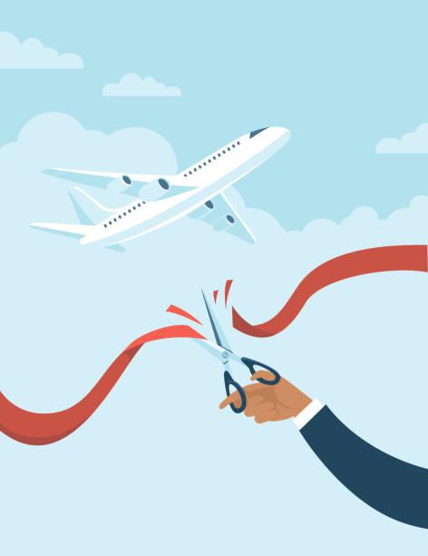 Human hand cuts red ribbon to start airlines flights again after coronavirus COVID-19 quarantine. vector art illustration