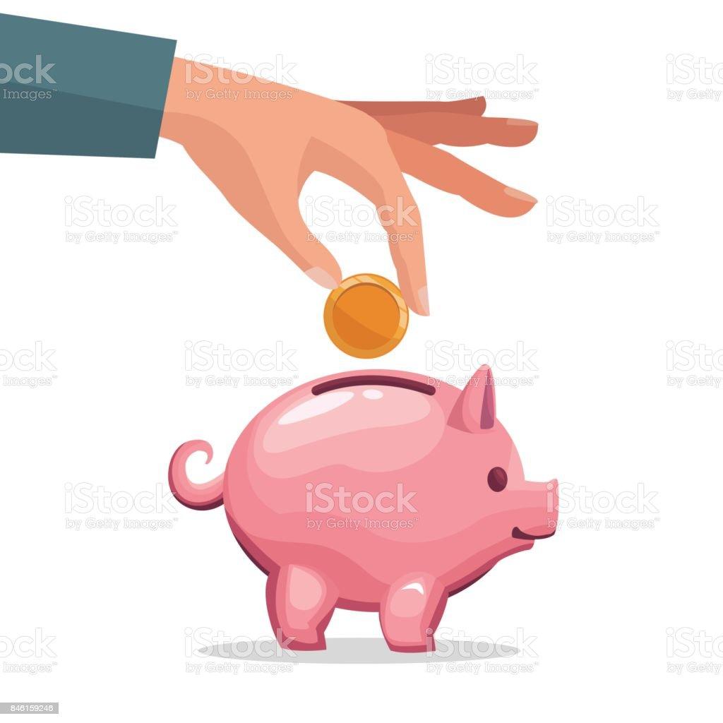 Menschliche Hand Die Münze In Ein Sparschwein Geld Einzahlen Stock