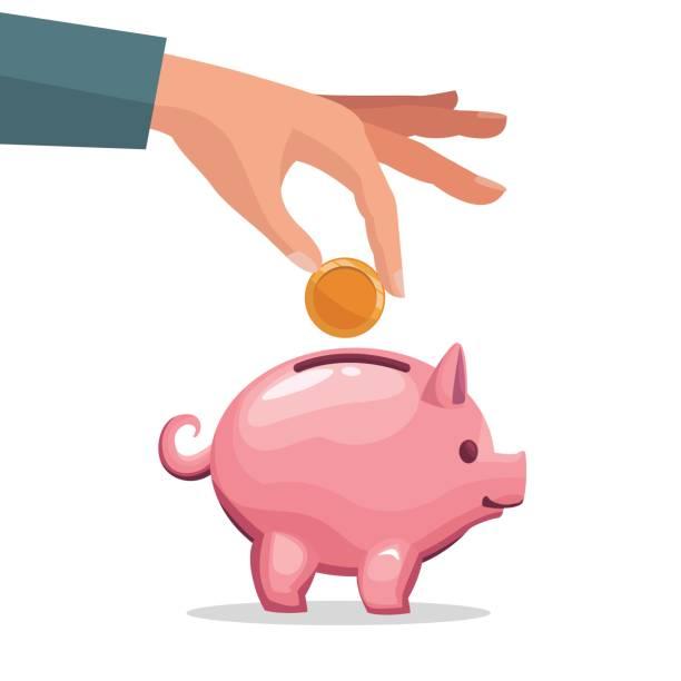 mano humana depositar monedas en una hucha de dinero - ilustración de arte vectorial