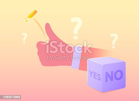 istock Human Hand Flipping Coin for Random Selection or Making Hard Decision. Dice with Yes or No Sides. Destiny, Chance 1280973965