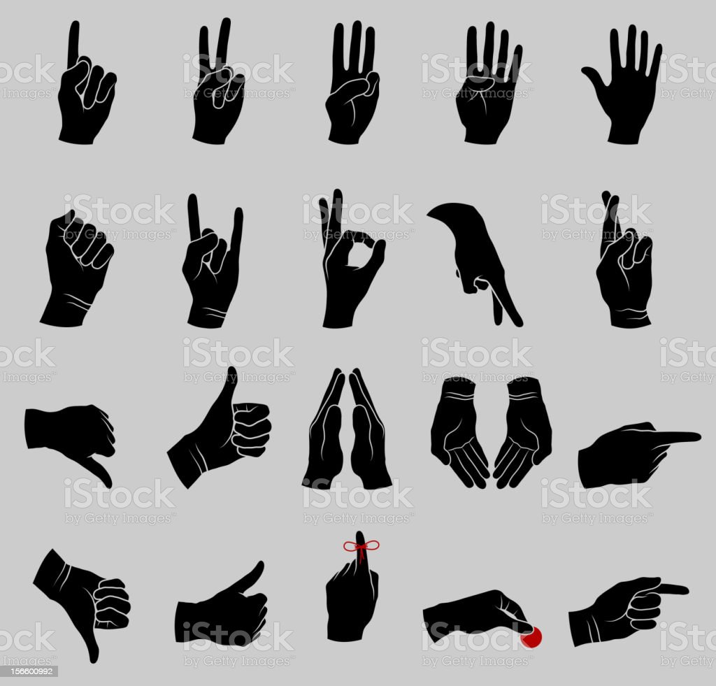 Human Hand Gestures Black and White Collection vector art illustration