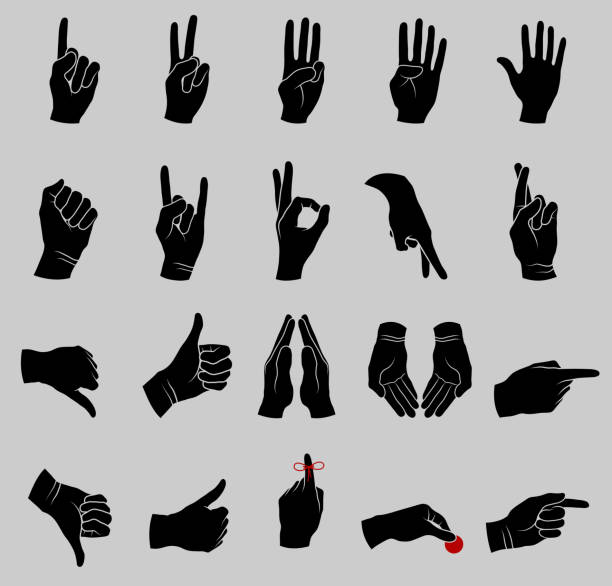 Human Hand Gestures Black and White Collection Human Hand Gestures Black and White Collection  human finger stock illustrations