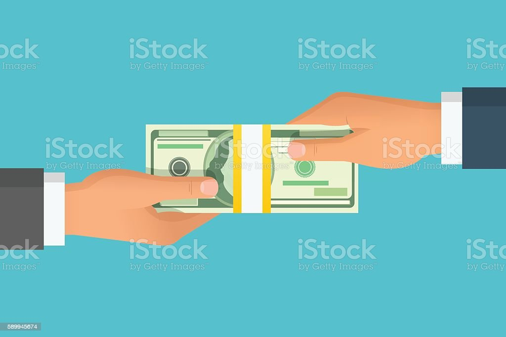 Human hand giving money to other hand vector illustration - Royalty-free Adult stock vector