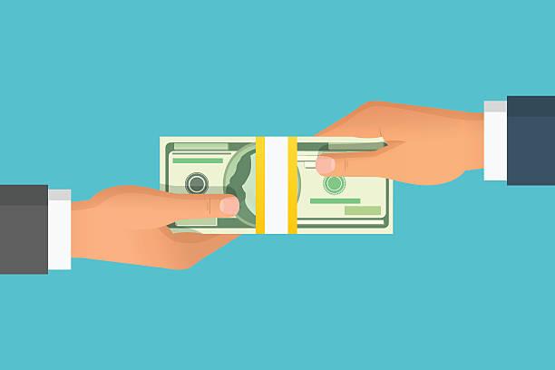 ilustrações, clipart, desenhos animados e ícones de mão humana dando dinheiro para outra ilustração vetorial de mão - empréstimo