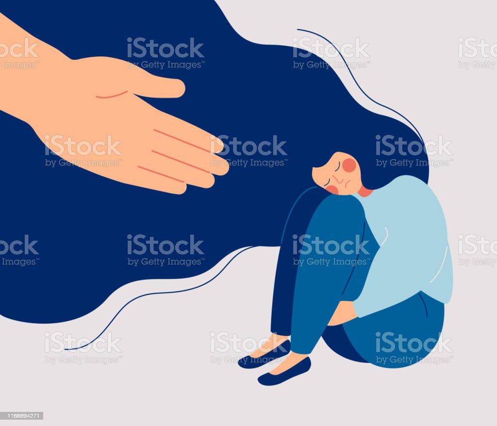Menselijke hand helpt een trieste eenzame vrouw om zich te ontdoen van depressie - Royalty-free 20-29 jaar vectorkunst