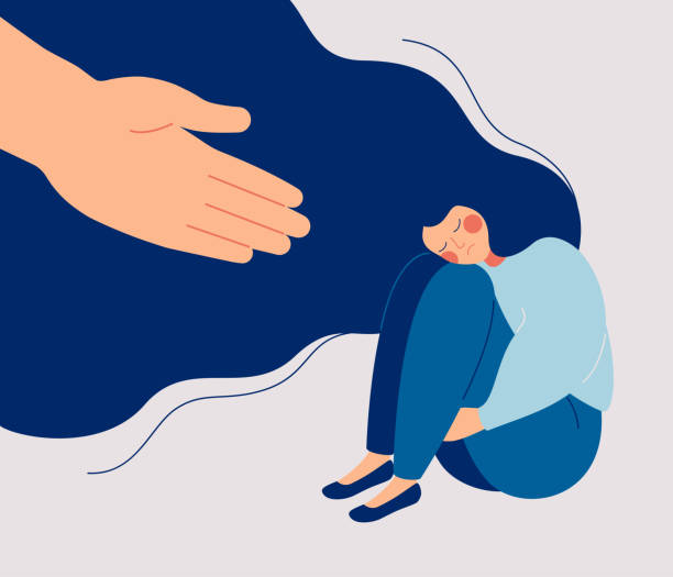 Human hand helps a sad lonely woman to get rid of depression Human hand helps a sad lonely woman to get rid of depression. A young unhappy girl sits and hugs her knees. The concept of support and care for people under stress. Vector illustration in flat style a helping hand stock illustrations