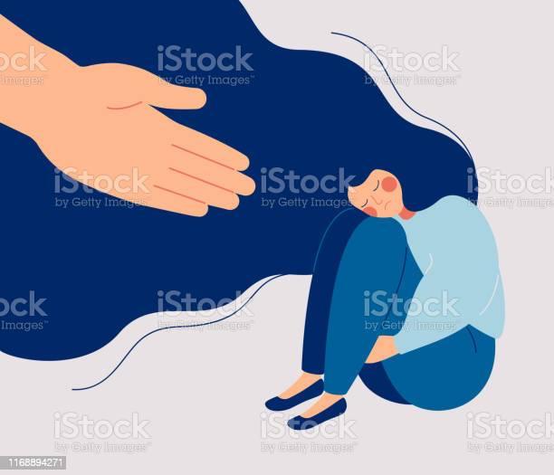 Menselijke Hand Helpt Een Trieste Eenzame Vrouw Om Zich Te Ontdoen Van Depressie Stockvectorkunst en meer beelden van 20-29 jaar