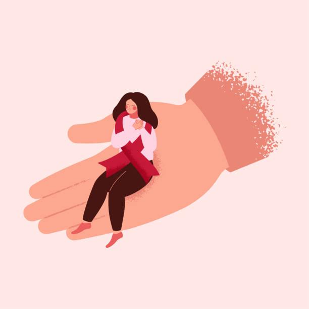 menschliche hand hilft einem kranken hilft mädchen mit rotem band. - aids stock-grafiken, -clipart, -cartoons und -symbole