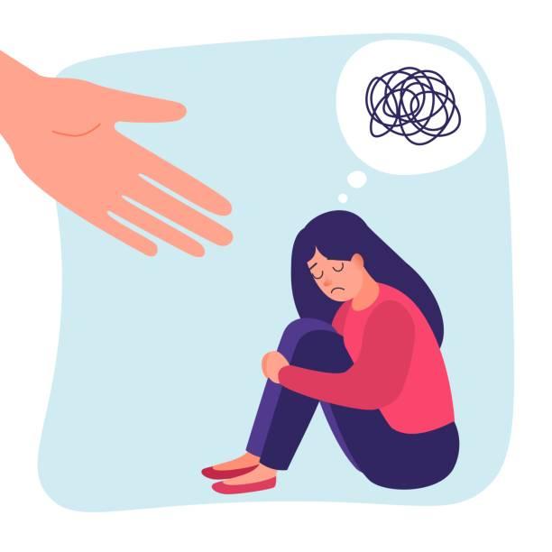 stockillustraties, clipart, cartoons en iconen met menselijke hand helpt. verdrietig eenzame vrouw in depressie. angststoornis. krankzinnig rommelig lijn. vector help concept - zelfmoord