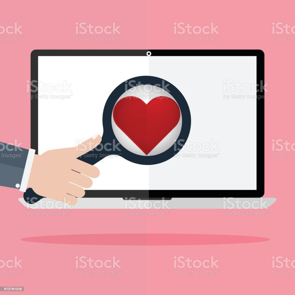Human hand hold a magnifying for find love and heart icon on laptop monitor on pink rays in background. Concept for online internet dating. human hand hold a magnifying for find love and heart icon on laptop monitor on pink rays in background concept for online internet dating – cliparts vectoriels et plus d'images de amitié libre de droits