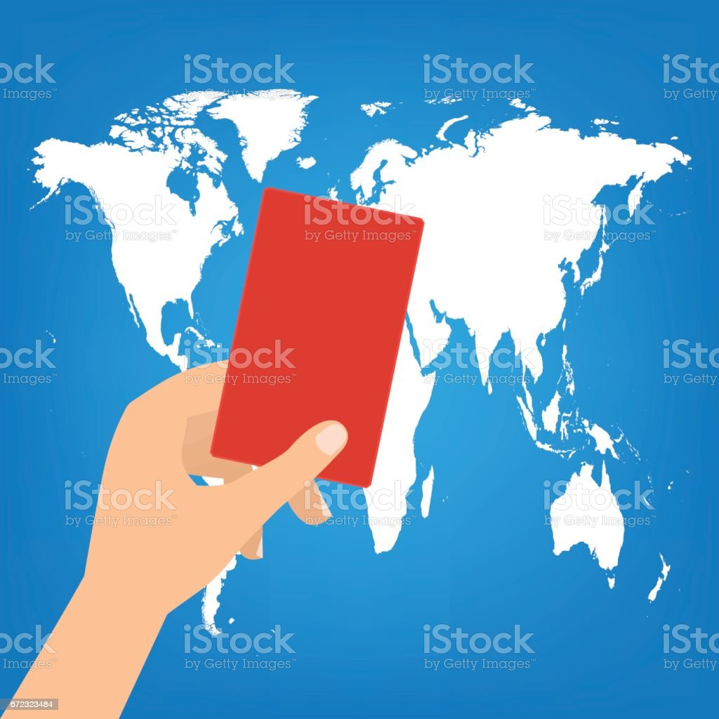 Human hand hold a red card on world map background vector human hand hold a red card on world map background vector illustration boycott concept gumiabroncs Image collections
