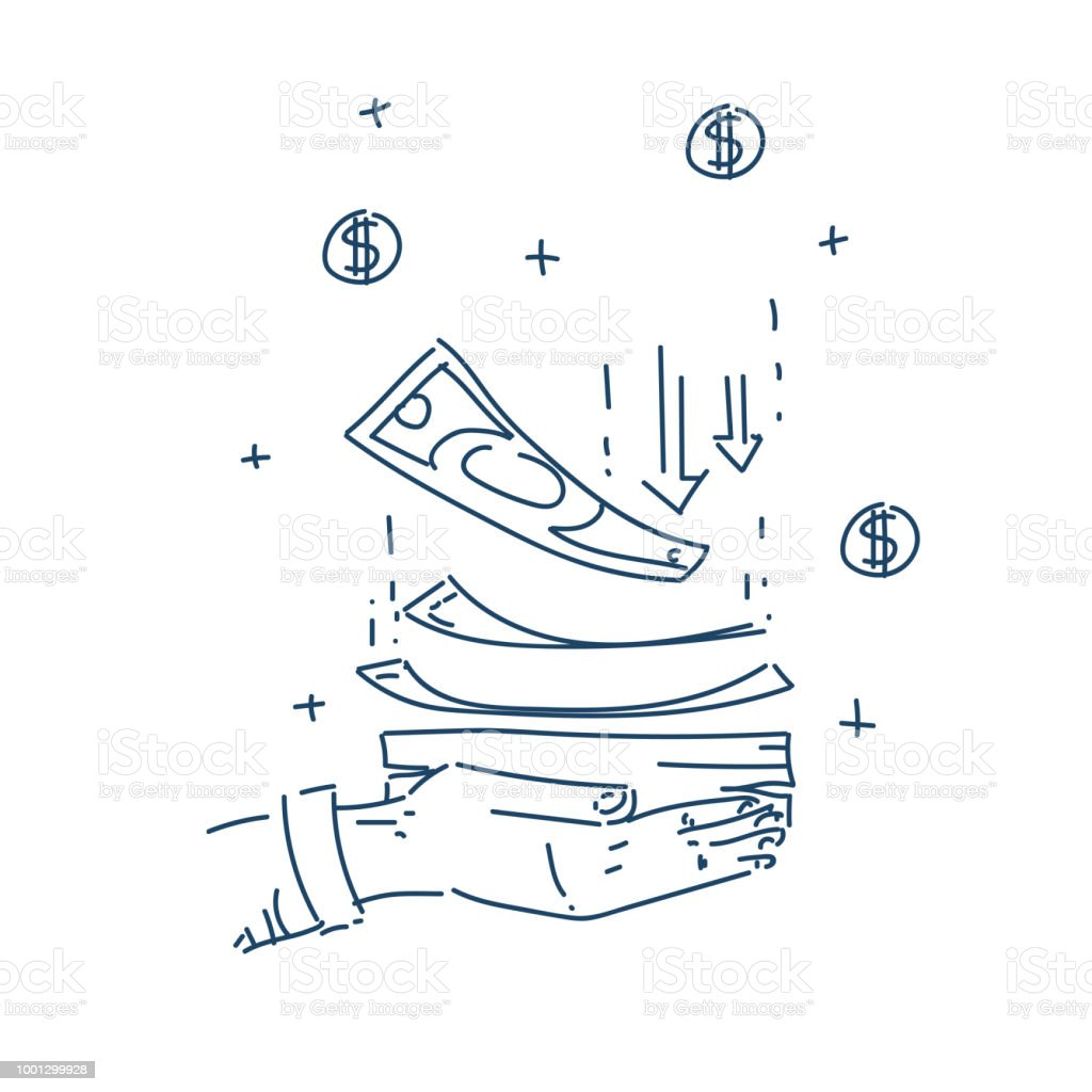 7bacea040de178 Human hand hold dollar banknote money growth wealth concept isolated sketch  doodle vector illustration - Illustration .