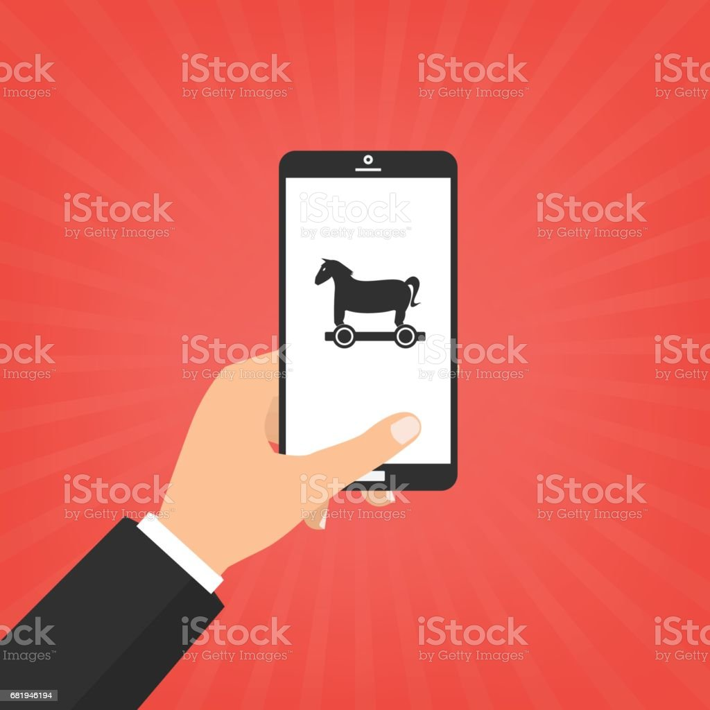 Human hand hold smart phone with Trojan horse malware computer virus. Vector illustration computer security with two factor authentication concept. Human hand hold smart phone with Trojan horse malware computer virus. Vector illustration computer security with two factor authentication concept. Alertness stock vector
