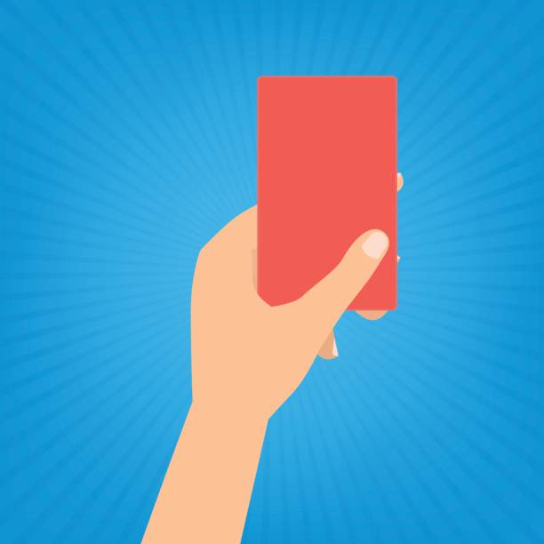 Human hand holding a red card on blue sun ray background. vector art illustration